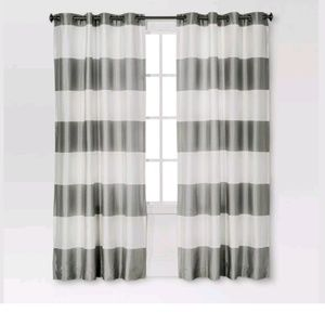 BOLD STRIPED GOURMET CURTAIN -WHITE/GRAY